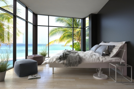 bungalows: Tropical bedroom interior with double bed and seascape view Stock Photo