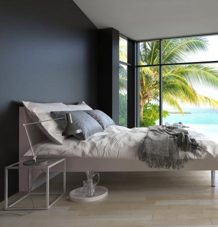 Tropical Schlafzimmer Interieur mit Doppelbett und Meerblickansicht