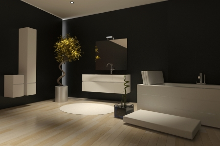 Modern dark black bathroom interior with ceramic bathtub photo