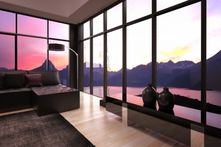 Modern loft living room interior with twilight sky view photo