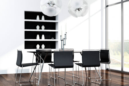modern dining room: Modern dining table with black chairs and huge window