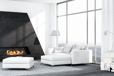 Intérieur de salon de luxe avec canapé blanc et cheminée Banque d'images - 25065095