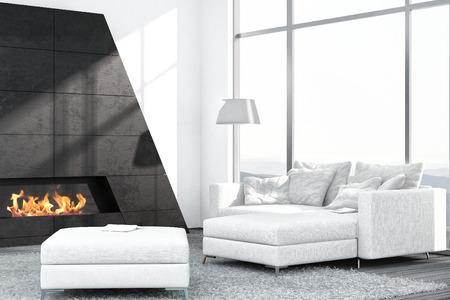 Luxus Wohnzimmer Interieur Mit Weißen Couch Und Kamin Photo