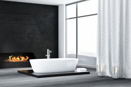 Luxury black bathroom interior with bathtub and fireplace photo