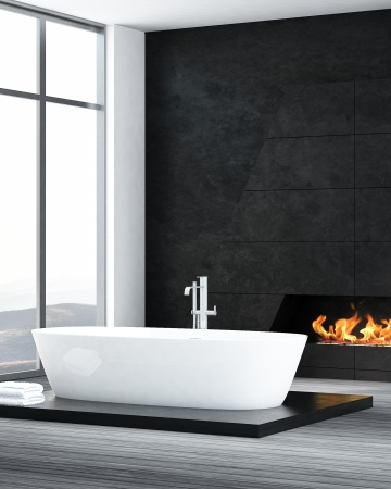 Luxury black bathroom interior with bathtub and fireplace Stock Photo