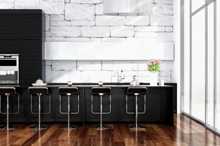 Modern black kitchen inter with stone wall Stock Photo - 25065114