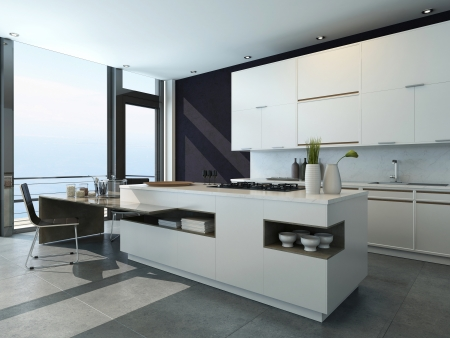 contemporary kitchen: Black and white kitchen interior with modern furniture Stock Photo