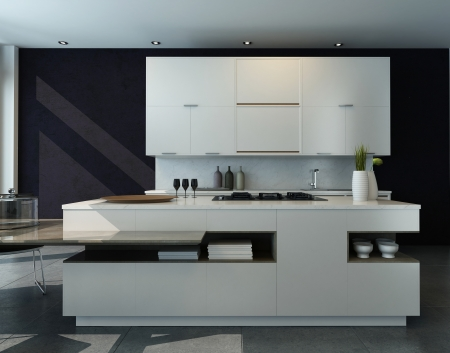 muebles de madera: Blanco y negro interior de la cocina con muebles modernos Foto de archivo