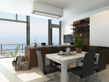 cuisine fond blanc: Int�rieur de la cuisine moderne blanche avec vue sur le paysage Banque d'images