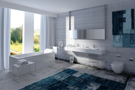 bathroom mirror: White bathroom interior with concrete wall Stock Photo