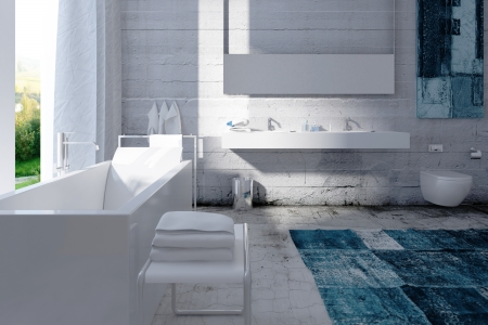 White bathroom interior with concrete wall Stock Photo