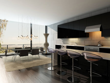 bar stool: Black kitchen interior with modern furniture
