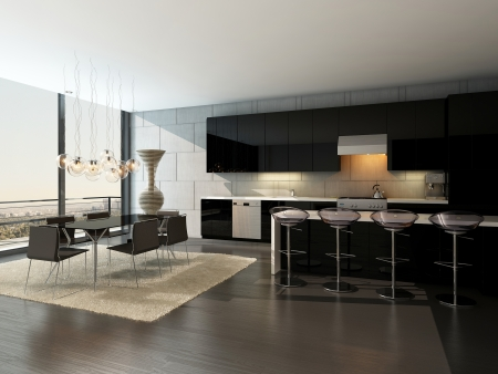 dining room: Black kitchen interior with modern furniture