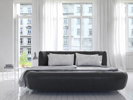 黒のキングサイズ ベッドとモダンな豪華な白い日当たりの良い寝室のインテリア