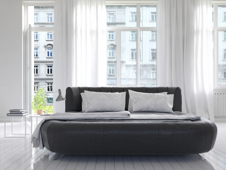 bedding: Modern luxury white sunny bedroom interior with black king-size bed