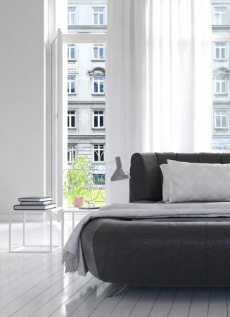 Licht Schlafzimmer Interior mit schwarzen Kingsize-Bett