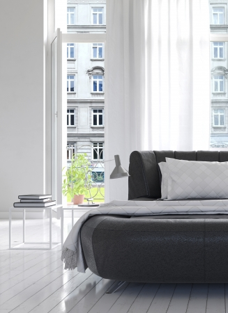 Light Bedroom Interior with black king-size bed