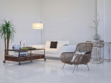 lofts: Modern white living room interior with furniture