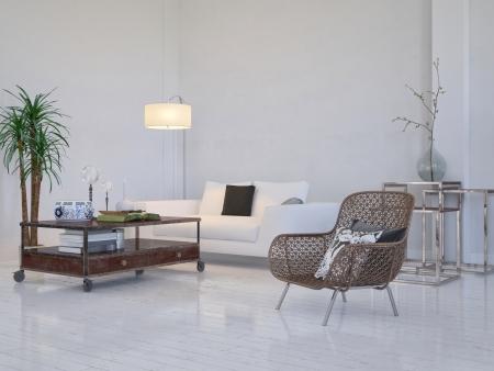 Moderne wei�e Wohnzimmer Innenraum mit M�beln Lizenzfreie Bilder