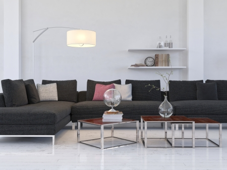 White living room interior with black couch photo