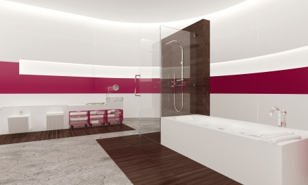 pink bathroom interior Stock Photo - 25065192