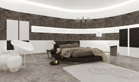Interieur met kingsize bed luxe slaapkamer
