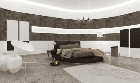 interior wallpaper: Luxury bedroom interior with king-size bed
