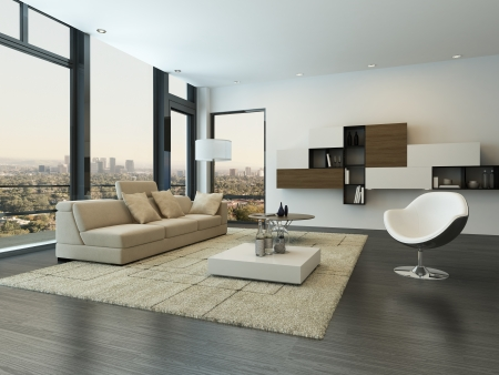 interior architecture: Modern living room interior with design furniture