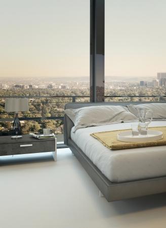 Modernes Design Bett gegen Fenster mit Landschaftsblick