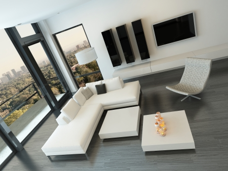 Modern living room interior with design furniture