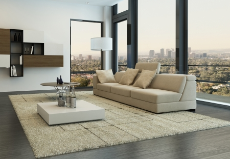 minimalist apartment: Modern living room interior with design furniture