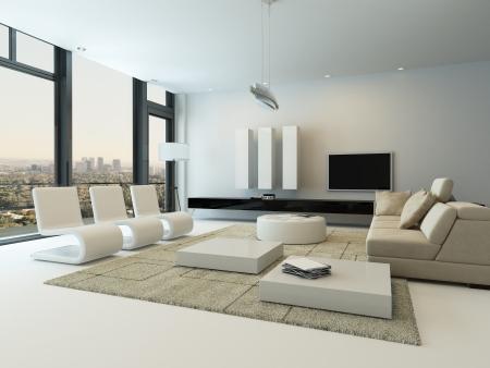 sala de estar: Interior moderno de la sala de estar con muebles de dise�o