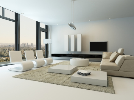 condominium: Modern living room interior with design furniture