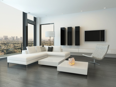 Modern Design Living Room Interior With White Couch And Coffee ...