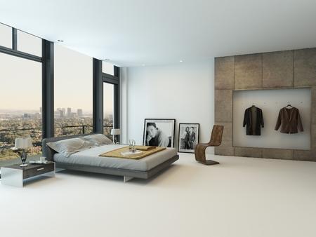chambre � coucher: Int�rieur chambre moderne  Banque d'images