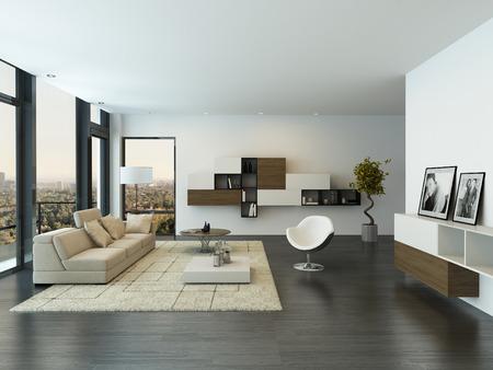 Intérieur moderne salon avec grande fenêtre