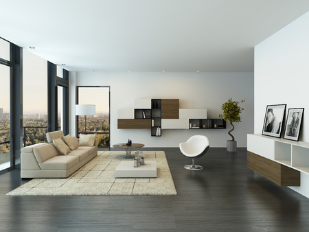 Moderne woonkamer interieur met groot raam Stockfoto