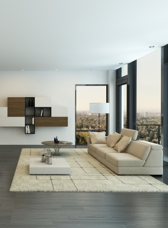 living room interior: Modern living room interior with design furniture