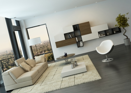 Modern living room interior with design furniture Stock Photo - 25065594