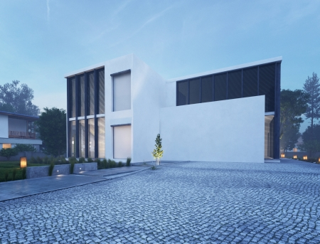 luxury house: Modern house exterior at dawn Stock Photo
