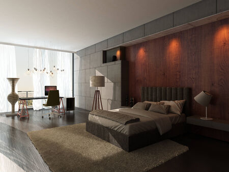 king bed: Modern bedroom interior with wooden wall Stock Photo