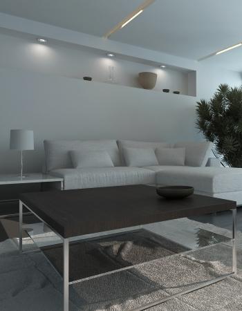 Modern living room inter at night Stock Photo - 25065629