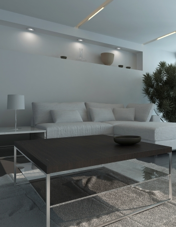 Modern living room interior at night Stock Photo - 25065629