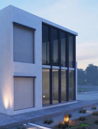 Moderní dům exteriér v soumraku