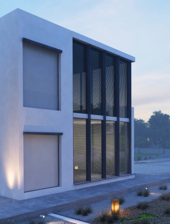 Modern house exterior at twilight