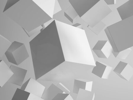 Picture of geometry concept of grey flying cubes  boxes photo