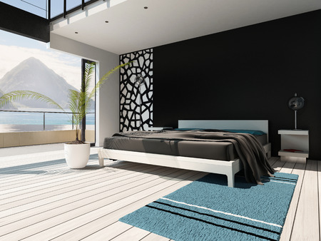 Picture of luxurious bedroom interior with king-size bed photo