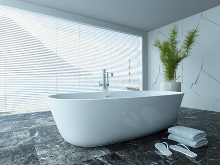 stone wash: Picture of contemporary white bathroom interior with marble floor