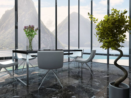 open floor plan: Picture of dining room interior with table setting