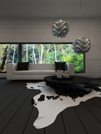 cow hide: Picture of modern living room interiow with coffee table